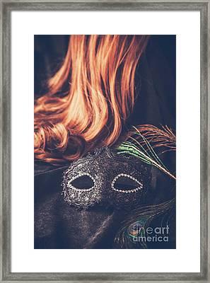 Mask With Wig Framed Print
