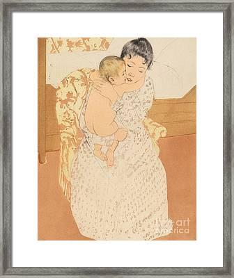 Maternal Caress Framed Print by Mary Stevenson Cassatt