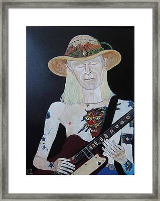 Mean Town Blues.johnny Winter. Framed Print by Ken Zabel