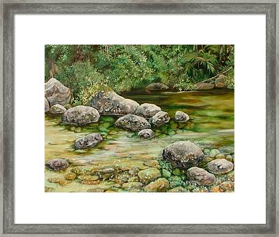 Meandering Stream Framed Print by Val Stokes