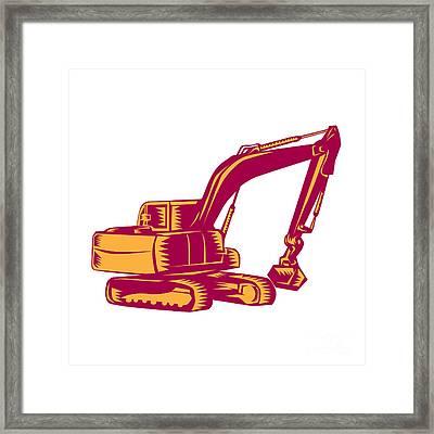 Mechanical Digger Excavator Woodcut Framed Print by Aloysius Patrimonio