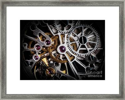 Mechanism, Clockwork Of A Watch With Jewels, Close-up. Vintage Luxury Framed Print by Michal Bednarek
