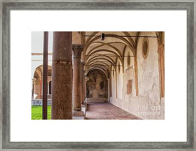 Medieval Hallway Of Italian Cloister Framed Print by Patricia Hofmeester