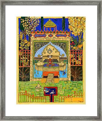 Meditating Master In Courtyard With Ducks Framed Print by Maggis Art