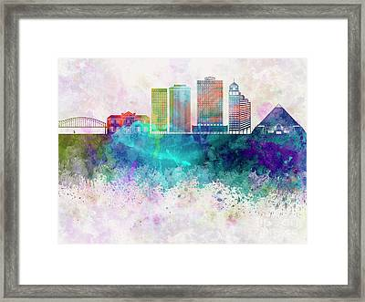 Memphis Skyline In Watercolor Background Framed Print