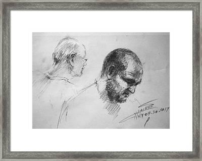 Men At Cafe Framed Print
