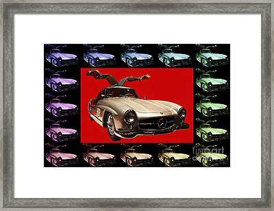 Mercedes 300sl Gullwing . Front Angle Artwork Framed Print by Wingsdomain Art and Photography