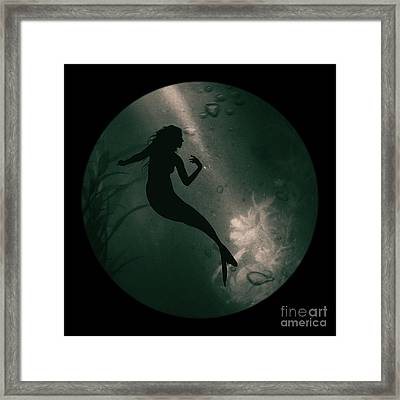 Mermaid Deep Underwater Framed Print