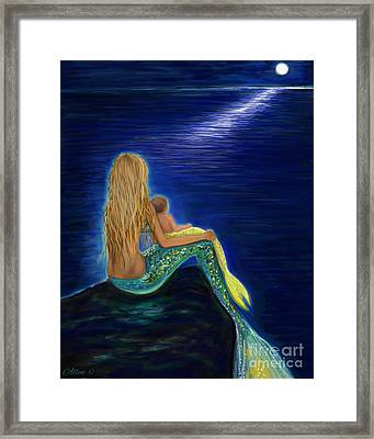 Framed Print featuring the painting Mermaids Sweet Babies Moon by Leslie Allen