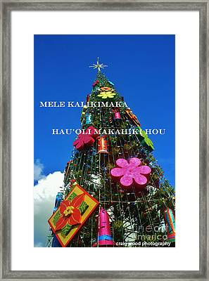 merry christmas happy new year hawaiian framed print