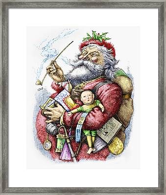 Merry Old Santa Claus Framed Print by Thomas Nast