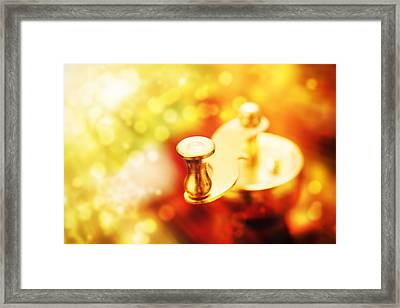 Metal Coffee-mill Handle On Abstract Background Monochromatic Framed Print by Jozef Klopacka