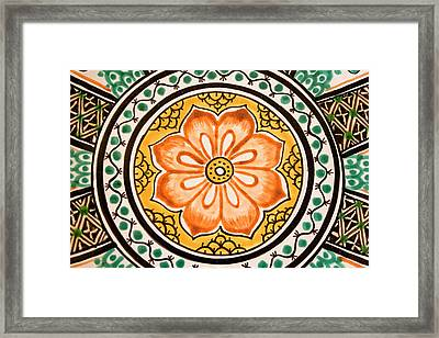 Mexican Tile Detail Framed Print by Carol Leigh