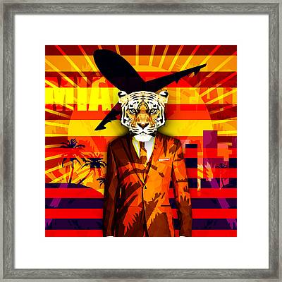 Miami Heat Tiger Framed Print by Gallini Design
