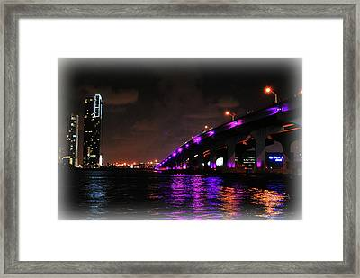 Miami Skyline At Night 2 Framed Print by Amanda Vouglas