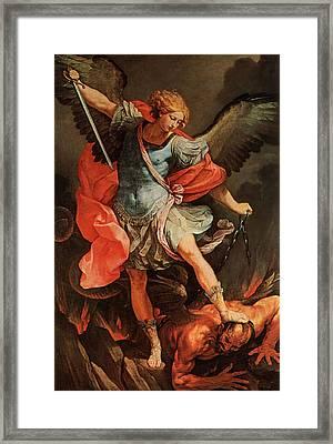 Michael Defeats Satan Framed Print