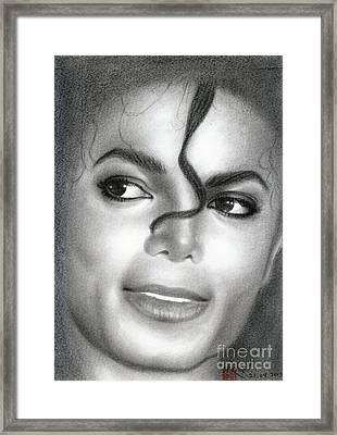 Framed Print featuring the drawing Michael Jackson #eight by Eliza Lo