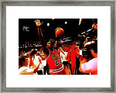 Michael Jordan Sweet Victory Framed Print by Brian Reaves