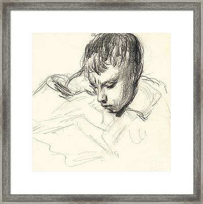 Michel Monet Reading Framed Print