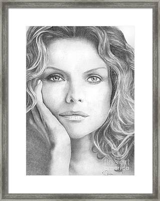 Michelle Pfeiffer Framed Print by Karen  Townsend