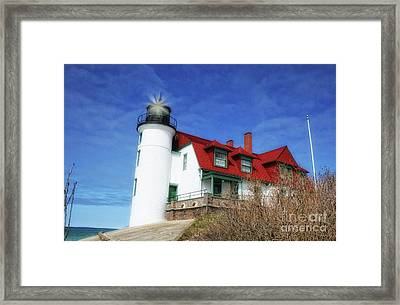 Framed Print featuring the photograph Michigan Lighthouse by Gina Cormier