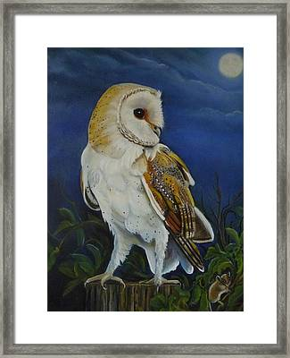 Midnight Hunter Framed Print by Janet Silkoff