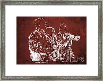 Miles Davis And Charlie Parker On Stage, Original Sketch Framed Print by Pablo Franchi