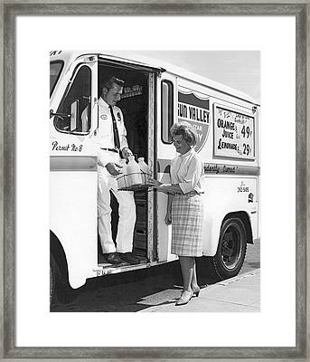 Milkman Home Delivery Framed Print by Underwood Archives