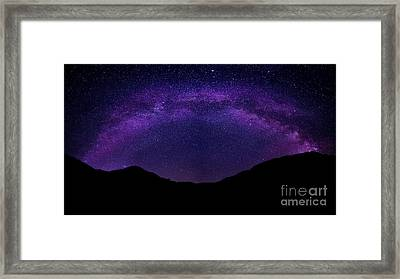 Framed Print featuring the photograph milky way above the Alps by Hannes Cmarits