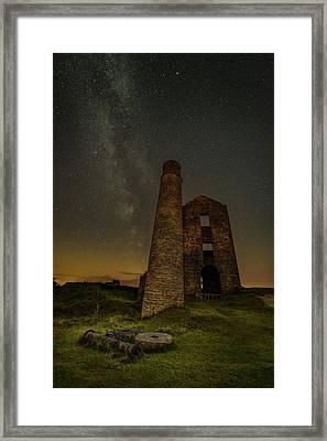 Milky Way Over Old Mine Buildings. Framed Print