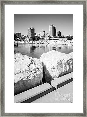 Milwaukee Skyline Black And White Picture Framed Print by Paul Velgos