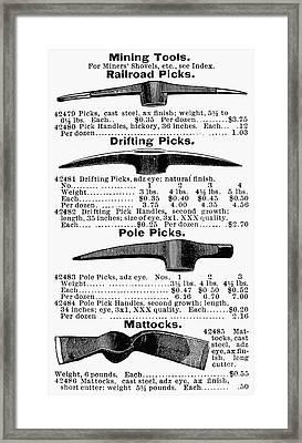 Mining Tools Framed Print by Granger