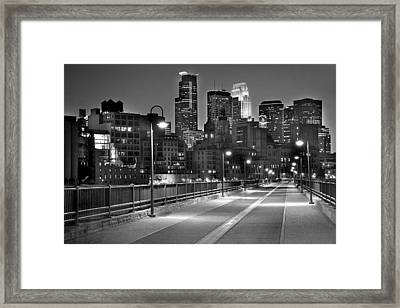 Minneapolis Skyline From Stone Arch Bridge Framed Print by Jon Holiday