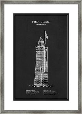 Minots Ledge Lighthouse - Massachusetts - Blueprint Drawing Framed Print