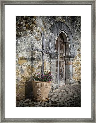 Mission Espada Cross Framed Print by Stephen Stookey