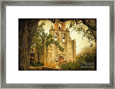 Mission Espada Framed Print by Iris Greenwell