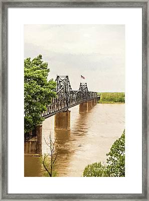 Mississippi River Bridge - Vicksburg Ms Digital Painting Framed Print