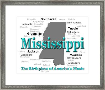 Mississippi State Pride Map Silhouette  Framed Print by Keith Webber Jr
