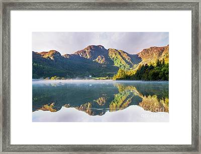Framed Print featuring the photograph Misty Dawn Lake by Ian Mitchell