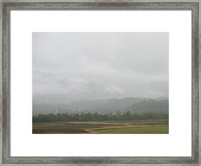 Misty  Foggy Mountain Framed Print by Raven Moon