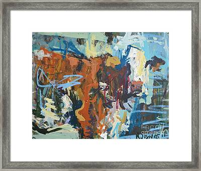 Mixed Media Cow Painting Framed Print