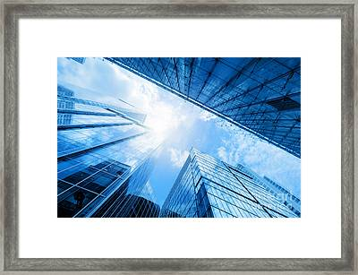 Modern Business Skyscrapers, High-rise Buildings, Architecture Raising To The Sky, Sun Framed Print