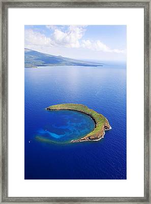 Molokini Aerial Framed Print by Ron Dahlquist - Printscapes