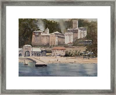 Monastery Agionoros Mount Athos Greece Framed Print