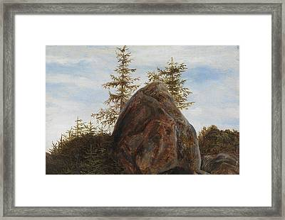 Monolith And Trees Framed Print