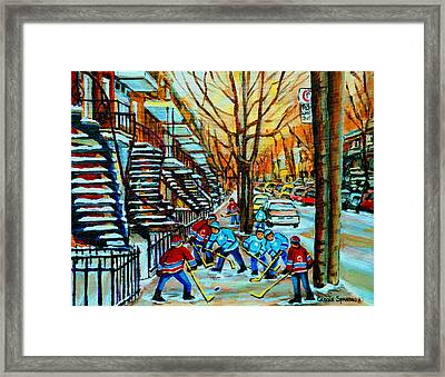 Montreal Hockey Paintings Framed Print by Carole Spandau