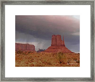 Monument Valley - Rain Coming Framed Print by Merton Allen