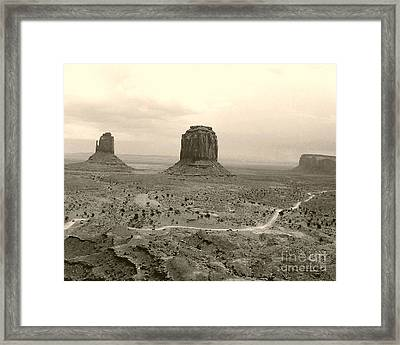 Monument Valley Panorama At Dusk Framed Print by Merton Allen