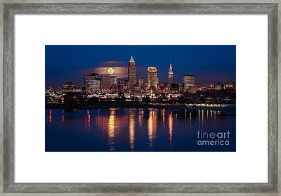 Moon Rising Over Cleveland  Framed Print by Frank Cramer