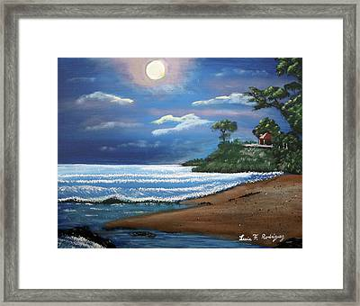 Moonlight In Rincon II Framed Print by Luis F Rodriguez